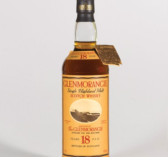 Bottle of the old style 18 year old Glenmoranige on a white background.